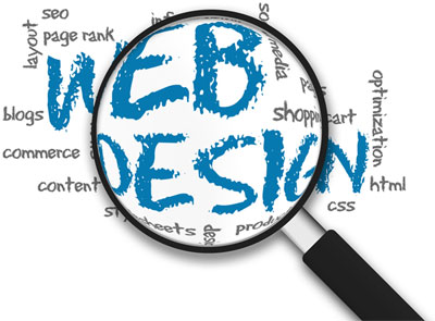 an image of a magnifying glass with the text' 'WEB DESIGN' behind it, along with lots of other smaller text of various digital marketing services text also.